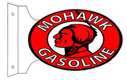 Mohawk Gasoline Double Sided Flange Sign 12x18 Oval