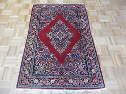 3and0393 X 4and03910 Hand Knotted Red Antique Fine Sarouk Oriental Rug G1897