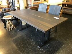 Reclaimed Oak Barn Wood Dining Kitchen Table Gray And Metal Legs Base Made In Usa