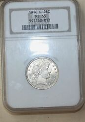 1916 D Barber Quarter Ngc Gem Denver Ms 65 Silver