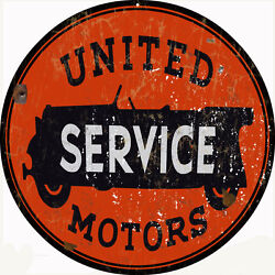 Reproduction United Service Motors Sign 24x24 Round