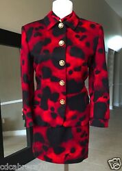 Gianni Versace Red And Black Wool Cashmere Skirt Suit Size 8 From Fw 1992/93