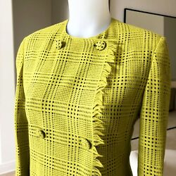 Gianni Versace Lime Green Plaid Frayed Wool Angora Skirt Suit Size It 40/42