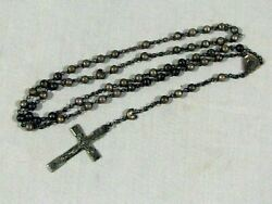Antique Sterling Silver Italy Rosary And Crucifix