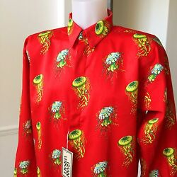 Gianni Versace Red Cotton Shirt Jellyfish Print Size It 52 From Ss 1996