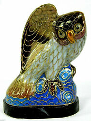 Fine Vintage 3.4 Cloisonne Collectible Bird Owl Statue Figurine And Wooden Base