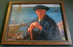 Large 26 X 35 Old Man Of The Sea Painting Artist Joseph Newman 1890-1979