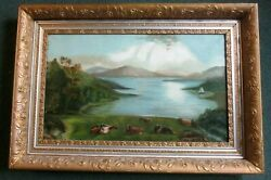 18 X 30 19th C Naive Cow Painting Antique 1800and039s_hyde Park Estate Bargain