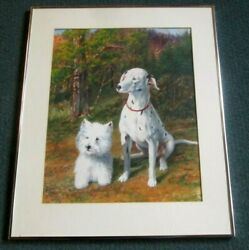 Dog Painting Signed W/c On Paper Absolutely Cute Reduced Price By 50 Sale