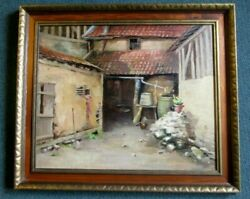Mid Century Painting Impressive Oil Well Executed Back Alley Scene Unsigned