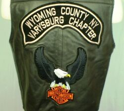 Harley-davidson Black Large Leather Vest Patches Made In Usa