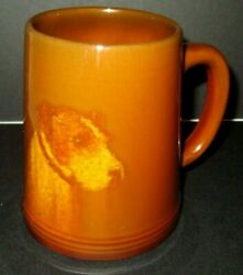 RARE ROOKWOOD WIRE HAIRED TERRIER DOG MUG E.T. HURLEY MOLD # 587 C CIRCA 1932