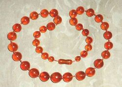 Large Honey Cognac Genuine Baltic Amber Round Graduated Beads Necklace 27 56gr