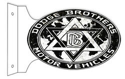 """Aged Reproduction Dodge Brothers Double Sided Flange Sign 12""""x18"""""""