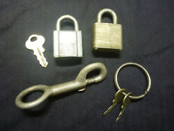 Lot Of 2 Working Small Old Locks With Keys + Lg Key Clip Chicago Master Vintage