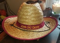 John Deere Logo Wide Brim Straw Hat With Red Band