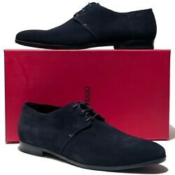 Hugo Boss Navy Blue Suede Leather 11.5 Oxford Dress Men's Welted Derby Casual