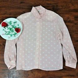 Leslie Fay Womens PinkWhite Polka Dot Sheer Button Down Top Size 14