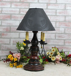 Katieand039s Liberty Table Lamp With Punched Tin Shade 4 Arm - Rustic Country Colors