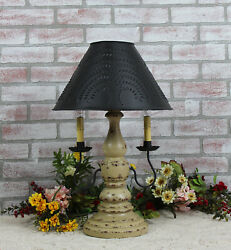 Katie's Liberty Table Lamp With Punched Tin Shade 2 Arm - Rustic Country Colors