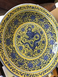 Rare Chinese Fine Porcelain Dish Qianlong Mark Yellow Cobalt Blue Dragon Lotus
