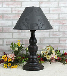 Katie's Liberty Table Lamp With Punched Tin Shade - Rustic Country Colors