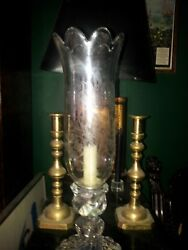 Two Vintage Baccarat Candlesticks With Etched Hurricane Lamps.