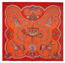 Hermes Carre 140 Shawl Stole Scarf Paperoles Red Orange Cashmere Silk Auth New