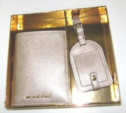 Michael Kors Holiday Boxed Gift Set Passport Case & Luggage Tag Gold Glitter