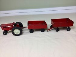 Vintage Toy Ertl Metal Tractor Equipment Trailer Carts And Tractor Wheels Lot.