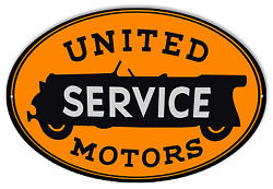 Large United Motors Service Oval Gas Station Sign 11x18
