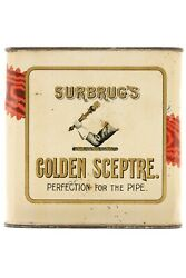 1910s Surbrug's Litho 16 Oz. Square Pipe Tobacco Tin In Good Condition