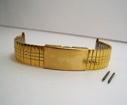 Unused Speidel Gold Tone Stainless Steel Free Ship Flexible Watch Band Clasp