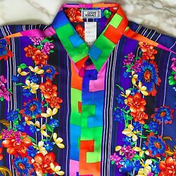 Gianni Versace Silk Shirt Stripes And Flowers Print Size It 50 From Fw 1993/94
