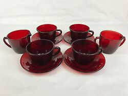 Anchor Hocking Royal Ruby Red Four Cups And Saucers, Creamer And Sugar Bowl
