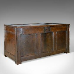 Antique Coffer Oak Joined Chest Three Panel Trunk Early 18th Century c.1700