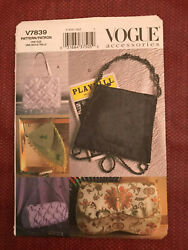 Vintage Out of Print Vogue Sewing Pattern 7839 Misses#x27; Evening Bags New $14.99