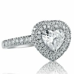 Heart Shaped 1.35 Ct F-si1 Diamond Engagement Halo Ring Pave Set 18k White Gold