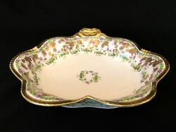 Antique Ls S Limoges Grape Vine Serving Bowl Gold Encrusted Heart Shape 10.25and039and039