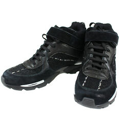 Lace Up High-top Sneakers 40 1/2 Black Canvas Italy Vintage Auth Z833 M