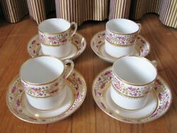 Early 19th Century Gilt Gooseberry Set of 4 Coffee Cans & Saucers; Coalport