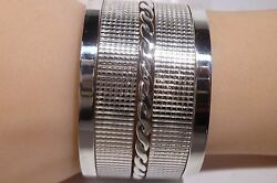 Amazing Ribbed Cuff Bracelet Marked Mexico Tt-13 925 Sterling Silver Estate
