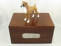 Beautiful Paulownia Wooden Personalized Urn With Uncropped Boxer Figurine