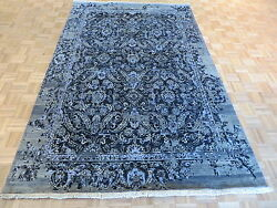 6'4 X 10 Hand Knotted Black Wool And Silk Modern Oriental Rug G3556