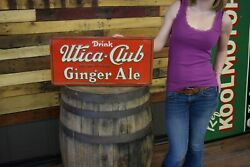 Rare Vintage 30s Prohibition Era Utica Club Ginger Ale Tin Embossed Sign Marked