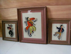 Reverse Paintings 3 By Thom On Glass Vintage Antique Gypsyand039s Clowns Dancing