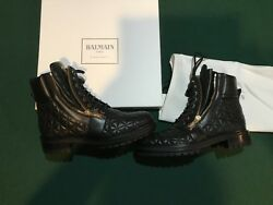 100 Authentic Balmain Army Ranger Zip Boots Black New Made In Italy