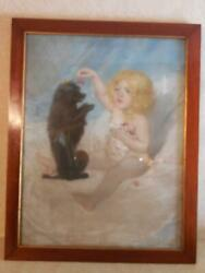 Signed and Dated Seifert Pastel of Nude Child Feeding Cherries to Black Terrier