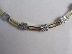 14k Solid White And Yellow Gold Designer Diamond Necklace 1.6 Tcw 18l 928