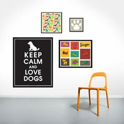 Dog Love Printed Wall Decal Set - Animals Pets Dogs Wall Art Vinyl Sticker